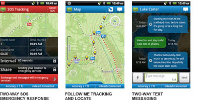 inreach smartphone screenshots